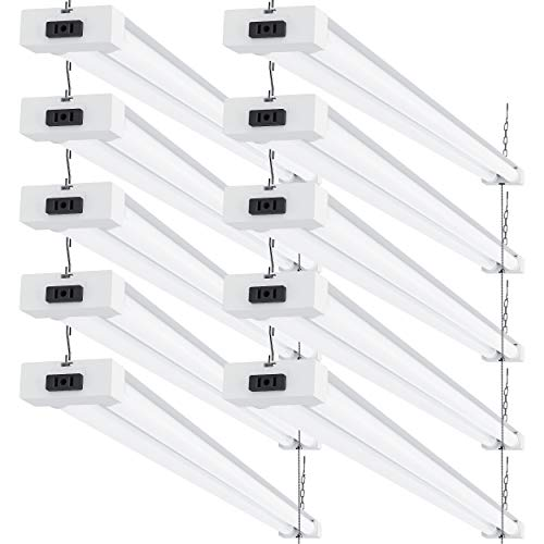 Sunco Lighting 10 Pack LED Utility Shop Light, 4 FT, Linkable Integrated Fixture, 40W=260W, 6000K Daylight Deluxe, 4100 LM, Frosted Lens, Surface/Suspension Mount, Pull Chain, Garage - ETL