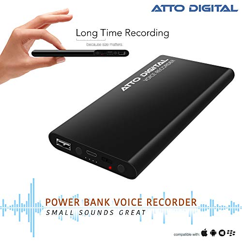 Voice Activated Recorder with High Capacity Battery up to 15 Days Recording Time, MP3 Audio Records, Portable Charger - by aTTo Digital