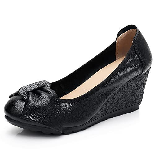 TuyoHao Womens Business Wedge Pumps Heel Shoes Comfortable Slip on with Bows Mother of Brige Shoes for Wedding Office Business (A Black,3)