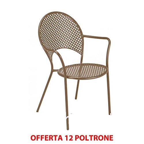 EMU Lot de 12 fauteuils solaires empilables Marron indien ameublement jardin Contract