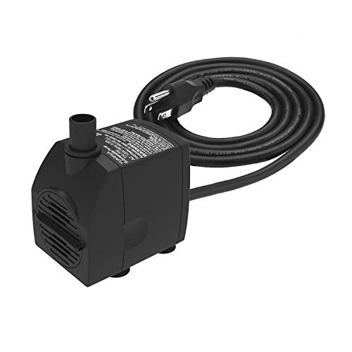 Submersible Water Pump 6.1ft Power Cord 200GPH Ultra Quiet Pump with Dry Burning Protection for Fountains, Hydroponics, Ponds, Statuary, Aquariums - More