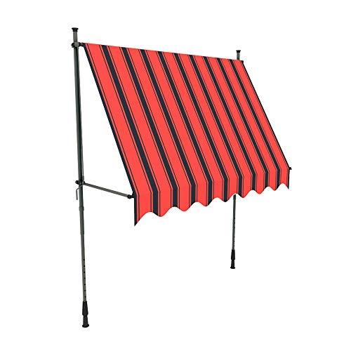 paramondo Jam Klemmmarkise Balkonmarkise ohne Bohren, Höhenverstellbar, UV beständig, mit Handkurbel, 2,50 x 1,20 m, Gestell Anthrazit, Stofffarbe Multi-Streifen Orange