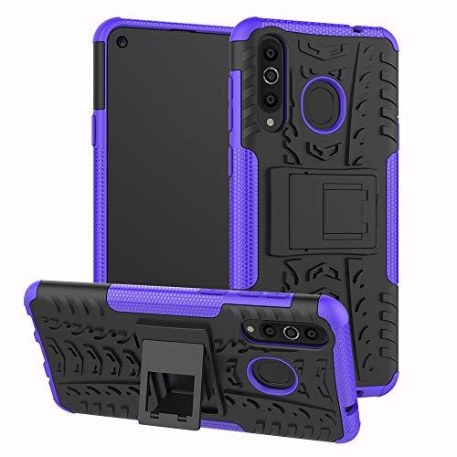 xinyunew Galaxy A8S Hülle, Handyhülle Hülle 360 Grad Ganzkörper Schutzhülle+Panzerglas Schutzfolie Schützend Handys Schut zhülle Tasche Cover Skin mit Ständer für Galaxy A8S Lila