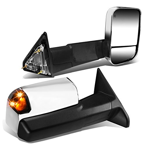 Replacement for Dodge Ram Pair of Chrome Powered + Heated Smoked Signal Glass + Foldable Side Towing Mirrors