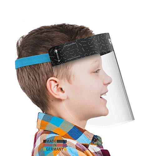 HARD 1x Pro Visera de protección facial, Certificado médico, Protector de plástico Antivaho, Pantalla protectora para niños, Hecho en Alemania - Negro/Azul