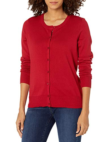 Amazon Essentials Women's Lightweight Crewneck Cardigan Sweater, Red, X-Large