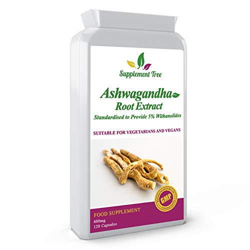 Ashwagandha Root Extract 600mg 120 Capsules | Standardised to 5% Withanolides | Natural Herbal Supplement | Zero Additives & Non-GMO | Ayurvedic Withania Somnifera | Suitable for Vegans & Vegetarians