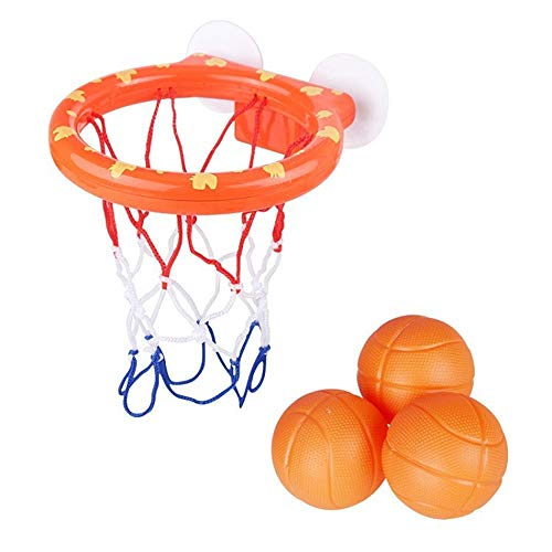 Basketballspielzeugset, Badewannenspielzeug Mini Shooting Basketballspielzeug Basketballhalter mit Saugnapf, enthält 3 Bälle, langlebig