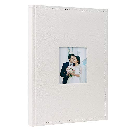 FaCraft Wedding Photo Album 300 4x6 Horizontally with Memo Area and Fabric Cover (Ivory)