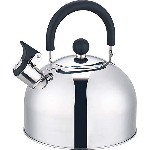 Ossian Bollitore a fischio in acciaio inox – Tradizionale fornello da cucina a gas elettrico a induzione cucina essenziale con manici freddi, coperchio rimovibile e beccuccio antigoccia (argento)