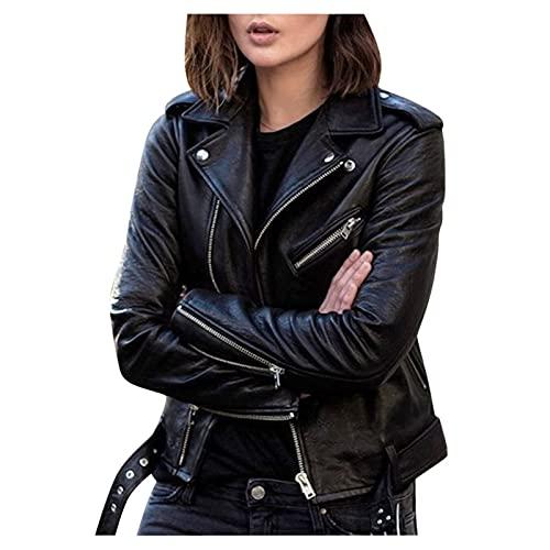 フェイクレザージャケット、モーターサイクルジャケットで作られたレディースショートジャケットポケット付きレディースレザーバイカージャケットファッションレザージャケットスウェットジャケットエレガントな秋の長袖コート (Color : Black, Size : 4XL)