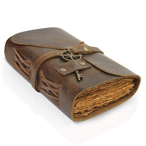 Vintage Notizbuch Leder - kleines 10 x 15cm antikes, handgemachtes Leder Notizbuch mit Büttenrandpapier - Perfekt zum Schreiben, als Notizbuch, Reisetagebuch, Malbuch oder Tagebuch für Erwachsene
