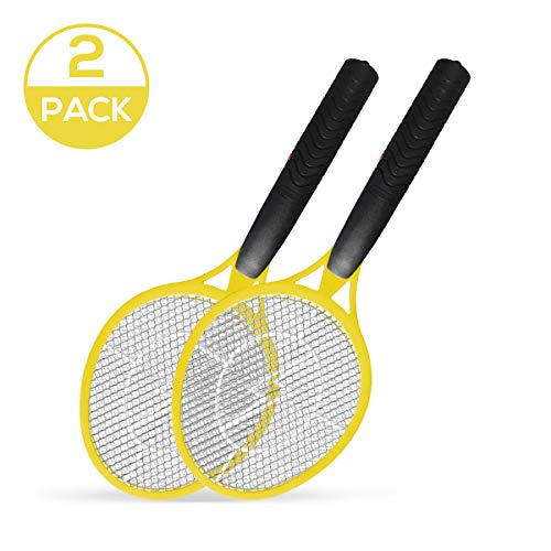 Vettora Electric Fly swatter Mosquito | Swatter 3 Layer Hollow Out Battery Operated Bug Zapper | Best High Voltage Handheld Mosquito Killer, Frui Insect Trap Racket (Hollow Out Yellow 2 Pack)