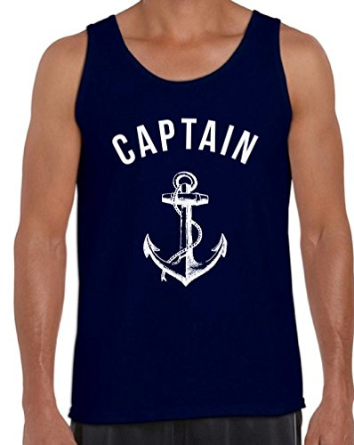Awkwardstyles Men's Captain Tank Top White Anchor Beach Party Tank + Bookmark L Navy