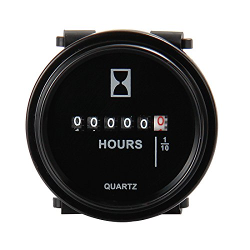 Mechanical Hour Meter Gauge - AIMILAR Professional Engine Hourmeter DC 6-80V for Boat Auto ATV UTV Snowmobile Lawn Tractors Generators (DC6-80V)