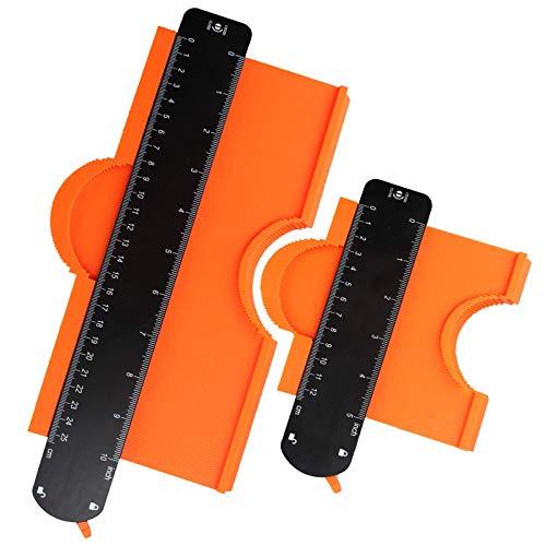 Karanice Konturenlehre Kontur Vervielfältigungslehre mit Feststeller 2er Set Magic Kontur Werkzeug für Unregelmäßiges Profil, Fliesen uvm, Teppiche und Laminat (12cm+25cm)