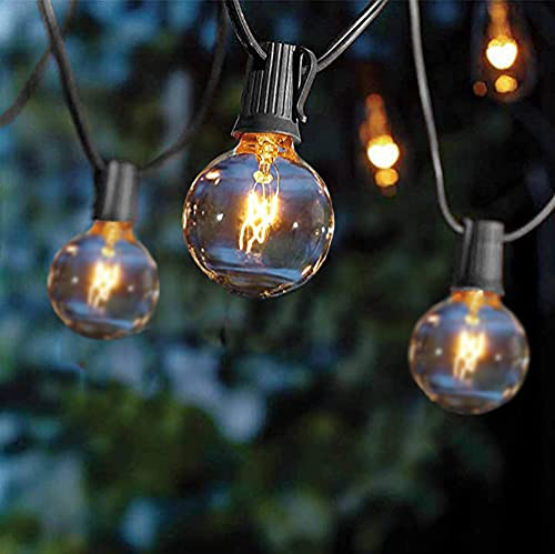 Goothy 25Ft Outdoor String Lights G40 Globe Lights with 28 Edison Bulbs(3 Spare) Connectable Patio Hanging Lights UL Listed for Christmas Backyard Porch Party Garden Decor, E12 Base -Black Wire
