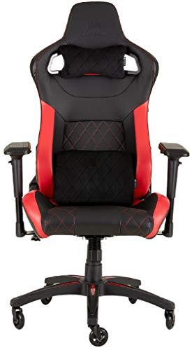 Corsair T1 Race Silla de Oficina, para Videojuegos, Polipiel, facil de ensamblar, giratoria ergonomica, Altura Ajustable y reposabrazos 4D, Asiento comodo y reclinable, Negro y Rojo