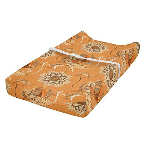 ABAKUHAUS Tostado y marrón Cubierta del cambiador, otomana de jardín, Funda blanda para el cambiador de pañales con agujeros para la hebilla de seguridad, Naranja Tan Brown