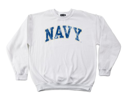 Navy 50/50 Blended 8-Ounce Vintage Arch Crewneck Sweatshirt, X-Large, White