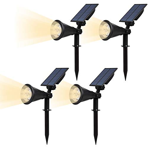 (4 Unidades ) T-SUN Foco Solar, Impermeable Luces Solares Exterior, Luz de Jardín, 2 Modos de Iluminación Opcionales, ángulo de 180° Ajustable, Luz de Proyecto Solar para Entrada, Camino.( 4000K )