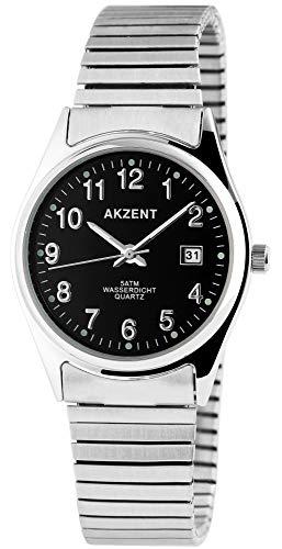 Akzent Herrenuhr - Metallzugband Datumsanzeige Analog Uhr Quarz Armbanduhr 2700012 (Schwarz)