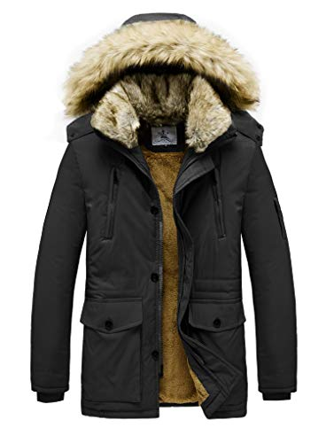 JYG Men's Winter Thicken Coat Faux Fur Lined Jacket with Removable Hood (Large, Black-2336)