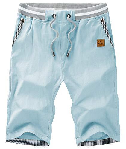 GEEK LIGHTING Men's Casual Shorts Elastic Waist Workout Shorts Drawstring with Zipper Pocket