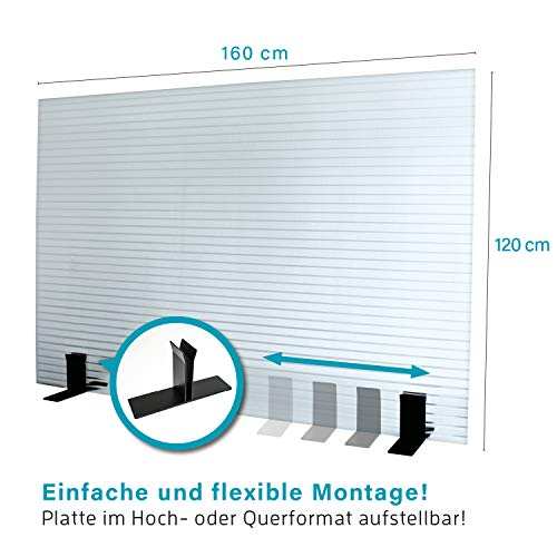KAISER PLASTIC® | Stellwand - Trennwand | 120 x 160 cm | Made-In-Germany | Farbe klar/transparent
