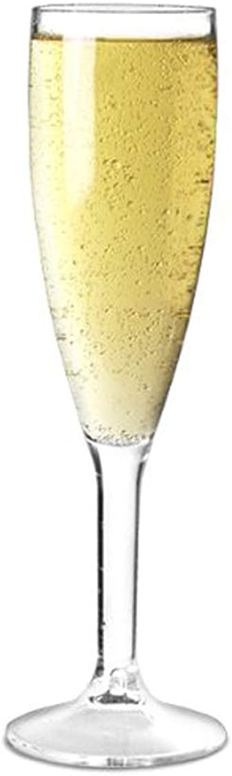 Confezione da 12 calici da champagne di qualità in policarbonato da 200 ml, riutilizzabili, 141-1CLNS