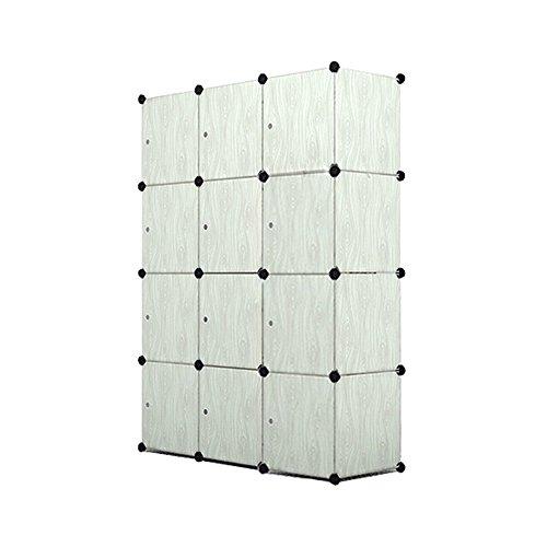 MCTECH® DIY Aktenschränke Regalsystem Steckregal Kleiderschrank Faltschrank Garderobe Schuhregal Kunststoffboxen mit Steckregal Stecksystem (12 Boxen, Hellgrau-Holzmaserung)