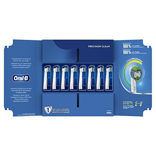 Oral-B Precision Clean Aufsteckbürsten mit CleanMaximiser-Borsten für eine optimale Reinigung, in briefkastenfähiger Verpackung, 8Stück