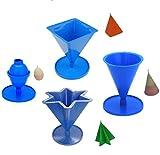 Proops S7705 Kerzenformen, Ei / Oval, Kegelform, 4-seitige Pyramide und Sternform mit 6 Spitzen, alle mit Sockel, hergestellt in Großbritannien -