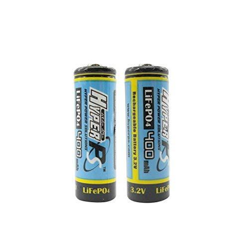 (2-Pack) HyperPS 3.2V LiFePo4 14430 (14 x 43mm) 400mAh Rechargeable Battery for Solar Panel Light, Tooth Brush, Shaver, Flashlight