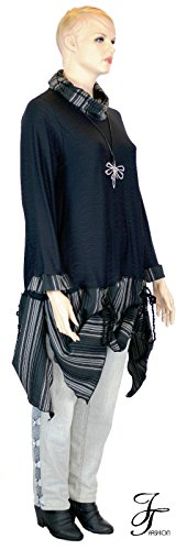 JT Fashion Jelle Töverie Designer Tunika Lagenlook L XL XXL Plussize Bigshirt Edeljersey Kleid Volant UNIKAT Einzelstück 00232