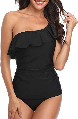 Yonique Swimsuits for Women One Shoulder Tankini Tummy Control Two Piece Bathing Suits Ruffle Swimwear Black XL
