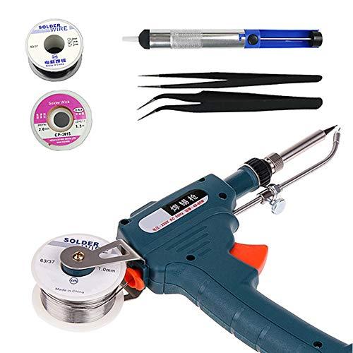 60W Elettronica Automatica Pistola Saldatrice Kit con Pompa Dissaldante, Pinzette, Fili di Saldatura, per Gioielli, Home DIY Riparazione Circuito