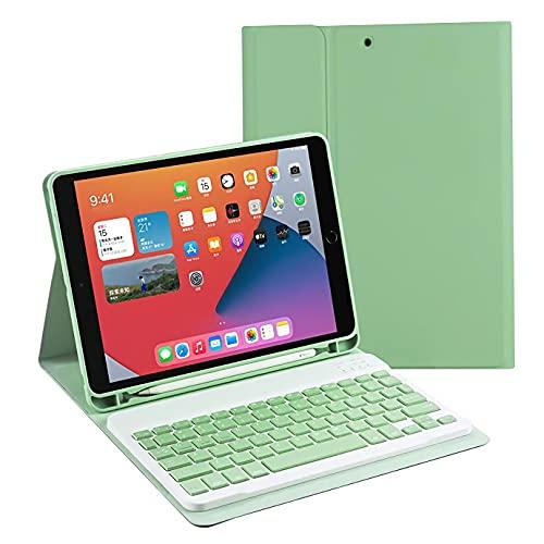 HaoHZ Funda Teclado para iPad Pro 11'2020 (2a Generación), Pro 11 Pulgadas 2018 (Contiene La Letra Ñ)- Carcasa Trasera De TPU Suave con Portalápices, Teclado Bluetooth Inalámbrico Desmontable,Verde