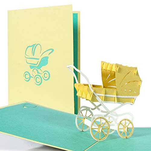 g13.4 Pop Up Pram Card, usable for Girl and boy, New Baby Born Card, BEST Wishes Card to Birth of a child, Greeting Card for New Baby, Gift Card, Card AS A Voucher