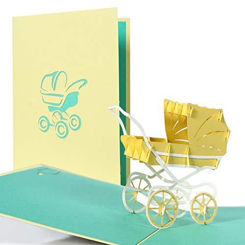 Tarjetas regalo pop up. Tarjetas felicitacion bebe para nacimiento bebe o cumpleaños bebe para niño y niña. Invitaciones baby shower unisex con carrito amarillo, G13.4