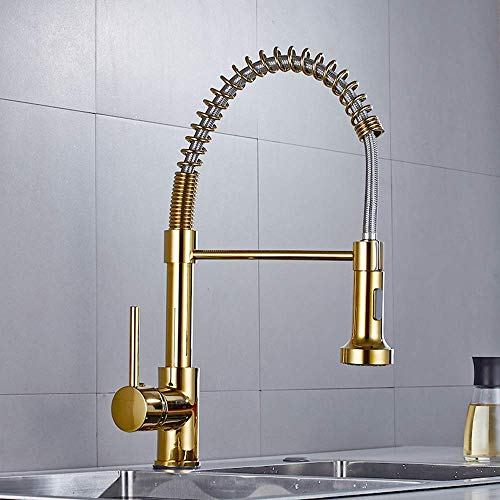 DLGGO Luxury Solid Brass Kitchen Faucet Gold Polished Brass Spring Kitchen Sink Faucet Pull Down Sprayer Single Hand Modern Hot And Cold Water Gold High Arc Pull Out Tap Sinks Deck Mounted