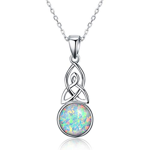 Opal necklace for Women 925 Sterling Silver Celtic Knot Pendant Jewelry
