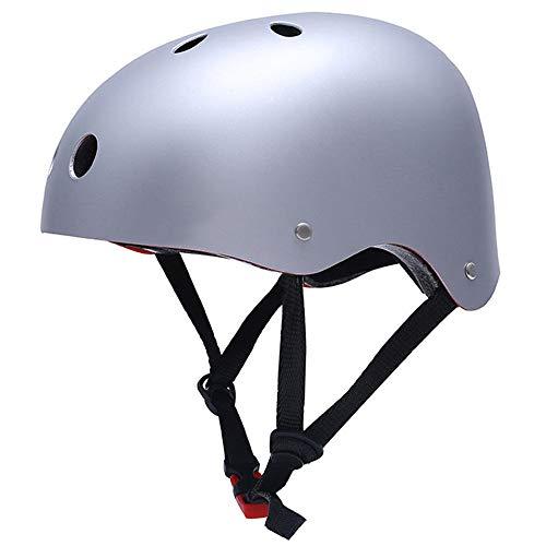 JHKGY Outdoor-Sport Helm,Skateboard Fahrradhelme,CPSC ASTM-Zertifiziertes Inline-Rollschuhlaufen Mit Mehreren Sportrollern Verstellbarer Helm,Für Kinder, Jugendliche & Erwachsene,Silber,M