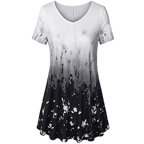MRULIC T-Shirt Damen V-Ausschnitt Kurze Ärmel Bluse Gradient Farbe Tunika Oversize Oberteile Casual Sommer Lose Shirt (Schwarz,EU-42/CN-XL)