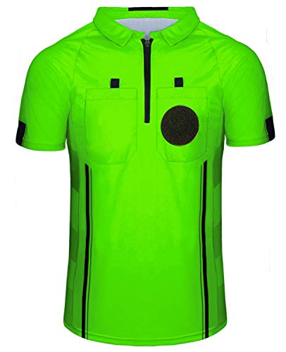 Yuar butee Men's Official Soccer Referee Shirt Zipper Umpire Referee Jerseys Pro Ref Uniform for Basketball & Football (Green, XX-Large)