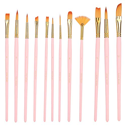 Brocha para pintar, buen almacenamiento de agua y que no destiñe, juego de brochas de nailon(12 matte powder sticks, blue)