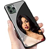 Luxury Black Cover for iPhone 11 Pro Max Phone Case,9H Tempered Glass Back Cover Soft Silicone Anti Scratch Bumper Design LC-115 POP Cardi B Protective Case