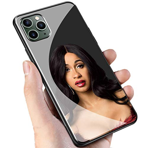 Luxury Black Cover for iPhone 11 Phone Case,9H Tempered Glass Back Cover Soft Silicone Anti Scratch Bumper Design LC-115 POP Cardi B Protective Case