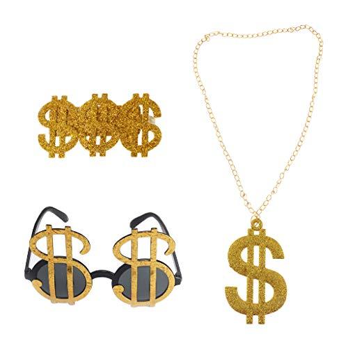 Homyl Confezione da 3 Pezzi Brillante USD Segni di Dollaro Anelli Occhiali da Sole Collane 80s Rapper Big Daddy Costume Fancy Dress Elegante DJ Accessori Gioielli