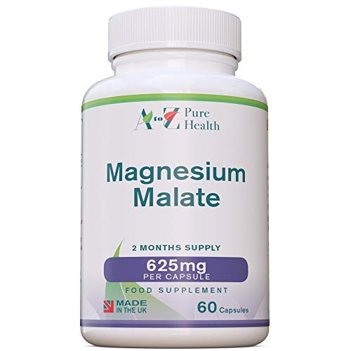 A to Z Pure Health Magnesium Malate 625mg | 60 Capsules | Supports Energy Levels, Heart Health & Muscle Function